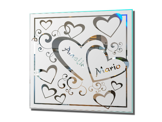 Motivspiegel Liebe 2 Herz Geschenk Wandschmuck Jahrestag Bild Gravur Deko Love